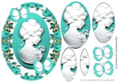 Pretty cameo lady in turq roses pyramids with butterflies on Craftsuprint - View Now!