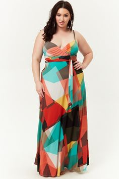 2eacdd5b396 Plus Size Geo Print Surplice Maxi Dress