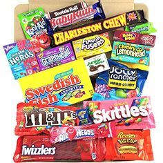 Medium American Sweet Hamper Candy/Chocolate/Wonka/Nerds Christmas/Birthday Gift - in a White Card Box - Version 2