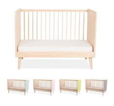 Varnished solid maple. Foot and headboard in poplar plywood finished in colourful high pressure Formica® laminate. Slatted mattress base. Decorative and durably useful: it can be turned into a bench when your child grows out of the cot. Dimensions: 123 x 75 x 23.5 cm Safety rated for newborns + (mattress not included) CAD $1,300.00 Unavailable