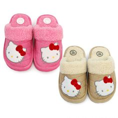 Hello Kitty Quilting Fur Slippers Soft Pily House Shoes For Office, School, Home