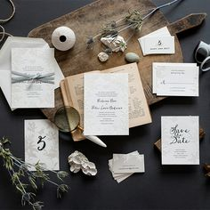 "Brides.com: . ""Lima"" letterpress wedding invitation suite with charcoal and transparent ink details, finished with hand-drawn botanical illustrations, $1,365 for 100 invitation suites, Hello Tenfold"