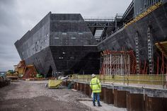 The V&A museum has released a movie and photographs showing how far construction has progressed on its new Kengo Kuma-designed outpost in Dundee.