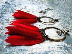 Boho red feathers  brass eye charm long by SANKTOLEONOJEWELRY, $50.00