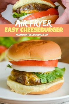 In just a few short minutes you will be on your way to these Easy Air Fryer Cheeseburgers. These can easily be made with a simple switch of buns too! Skip grilling out and simply make air fryer burgers! Air Fryer Dinner Recipes, Air Fryer Recipes Easy, Lunch Recipes, Easy Dinner Recipes, Gourmet Recipes, Beef Recipes, Vegetarian Recipes, Healthy Recipes, Hamburger Recipes