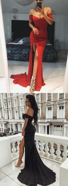 Mermaid Off-The-Shoulder Split Front Sweep Train Prom Dress #promdress #promdresses #sexypromdresses #eveningdresses #2018promdresses
