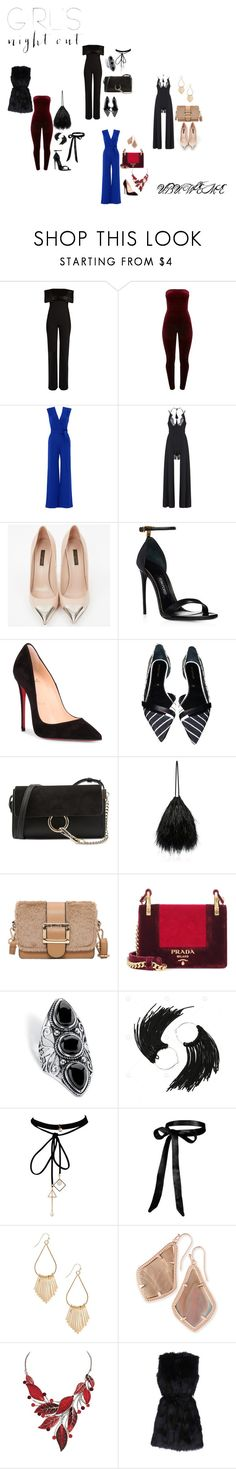 """""""GIRLS NIGHT OUT"""" by mchangwe ❤ liked on Polyvore featuring Galvan, YOANA BARASCHI, Louis Vuitton, Christian Louboutin, Sergio Rossi, Chloé, Attico, Prada, Palm Beach Jewelry and WithChic"""