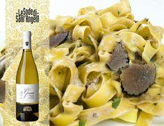 Wine & food pairings : Vermentino LeGessaie pairs perfectly with pasta with black truffle (tagliatelle al tartufo nero estivo)