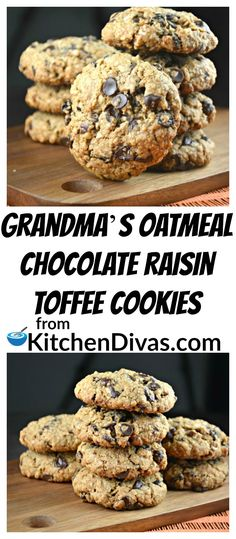Grandma's Oatmeal Chocolate Raisin Toffee Cookies always remind me of my grandmother. All oatmeal cookies do. I also can't make them without both chocolate chips and raisins. She always did. So to me that's what you do. It just tastes right to me! This version includes Heath or Skor toffee bits too and they are so delicious. I have even thrown nuts in as well. No matter what you add, or plain, these cookies always put a smile on everyone's face!