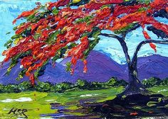 Art: Royal Poinciana Palette Knife Oil Painting by Artist Maria Soto Robbins