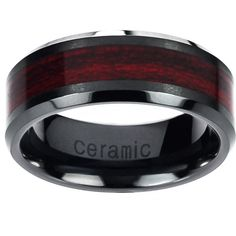 Vance Co. Ceramic Burgundy Wood Inlay Band ($32) ❤ liked on Polyvore featuring men's fashion, men's jewelry, men's rings, mens ceramic rings, mens two tone wedding rings, mens band rings, mens wooden rings and mens wood ring