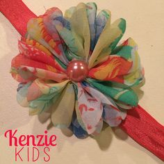Coral Floral Handcrafted Headband by Kenzie Kids Boutique