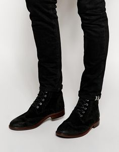 ASOS Brogue Boots in Suede
