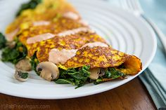 Tofu Omelet with Kale and Mushrooms (Egg-free)