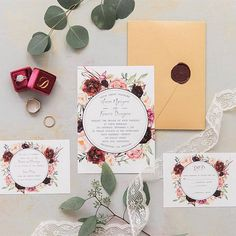 Refined Burgundy and Marsala Wedding Color Ideas for Fall Brides Laser Cut Wedding Invitations, Rustic Invitations, Wedding Invitation Cards, Bridal Shower Invitations, Cheap Invitations, Invitation Templates, Wedding Card, Boho Wedding, Floral Wedding