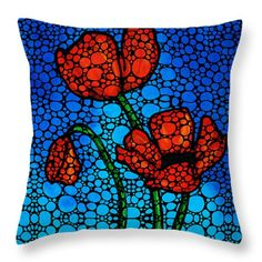 Stone Rock'd Poppies by Sharon Cummings Throw Pillow by Sharon Cummings
