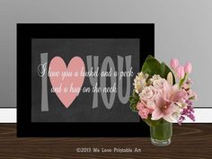 Quote art Print Printable wall art decor by WeLovePrintableArt, $5.00 -- Quote art Print, Printable wall art decor poster, digital typography calligraphy, I love you wedding anniversary nursery, bushel and a peck