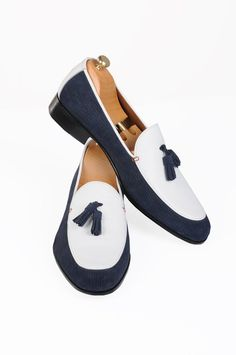 Handmade Blue and White Loafer Men Shoes