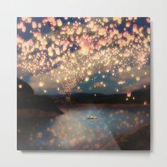 Romance Under The Wish Lanterns Sky <br/> chinese lanterns, wish lanterns, sky lanterns, lake...