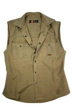 Kakadu Men Jack Shirt Cotton Canvas Khaki Sleeveless | eBay