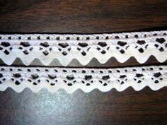 "Rare Vintage Hand Made Crocheted White Beading Lace  White Rick Rack 2 Pcs 35"""