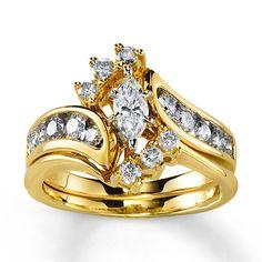 Kay - Diamond Bridal Set 1 ct tw Marquise-Cut 14K Yellow Gold