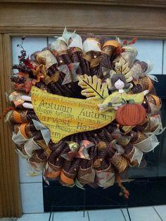 XL Premium Fall Angel deco mesh ribbon wreath Autumn Harvest Pumpkins