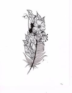 15. #Feathers and Flowers - 41 #Inspiring and Mostly #Black and White Tattoos to #Inspire Your Next Ink Session ... → #Inspiration #Tattoos