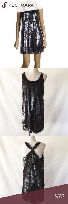 JUICY COUTURE SEQUIN SUNBURST DRESS NWOT. Never worn. Sunburst sequin panels over sheer chiffon. Scoop neckline. Knotted racerback with keyhole detail. Silk. Juicy Couture Dresses Midi