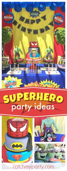 Check out this awesome Superhero birthday party! The birthday cake is so cool!! See more party ideas and share yours at CatchMyParty.com