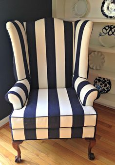 Stripe wingback chair