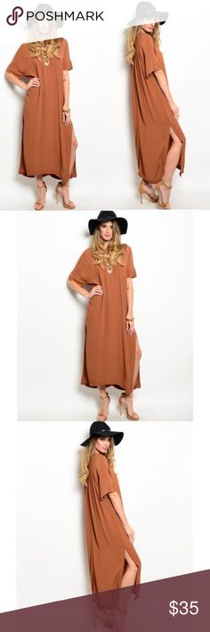 Boho Copper Dress Great length, even for the shorties 😂 Very soft and comfy. Great quality 👍🏼 100% rayon. No trades. No lowball offers. Dresses