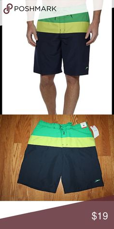 Men's Speedo E Board Shorts Perfect for the upcoming summer.  Nice length, stylish, and comfortable.  Men's size Medium Speedo Board Shorts. NWOT. Colorblock navy, green and lime. Speedo Swim Board Shorts