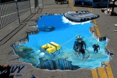 Creative visual solutions for your Event or Marketing needs through the innovative use of 3D Street Painting and 3D Chalk Art.  US Navy – X Games 2013 – Los Angeles
