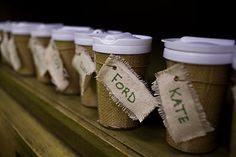 genius idea, burlap name tags, i could see putting these onto napkin rings, or Christmas gift tags.. oh the ideas i get from a simple picture