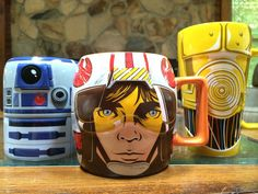 Star Wars mugs from the Disney Store. I totally need that middle one. Geek Out, Nerd Geek, Nerd Cave, Geeks, I Love Coffee, Coffee Coffee, Coffee Cups, Star Wars Mugs, Star Wars Love