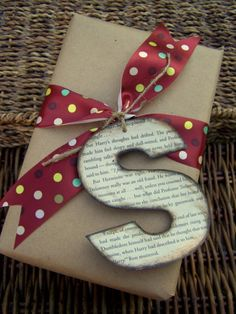 letter tags using page from favorite book