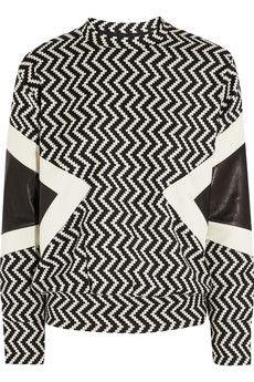 NEIL BARRETT Leather-paneled zigzag wool-blend sweatshirt