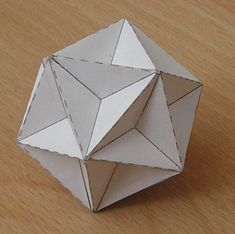Paper Model Great Dodecahedron. Awesome Fact Family Dice.