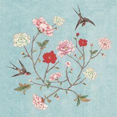 WHHACHHO_화조도 파랑 Korean Painting, Chinese Painting, Chinese Art, Geisha Art, Cartoon Flowers, Textile Sculpture, Japanese Flowers, Motif Floral, Nature Prints