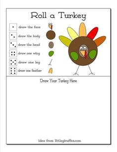 Thanksgiving Math Game. Roll a Turkey! Partners play and the first one to draw the whole turkey wins!