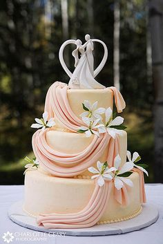 Orange wedding cake with cake topper by Charlotte Geary Photography, via Flickr -- make the drapery a shade of purple and knix the topper and I love this wedding cake!