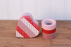 washi tape covered heart box for Valentine's Day!
