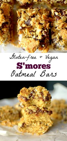 In need of a nourishing sweet treat? These S'mores Oatmeal Bars fit the bill! They taste like the classic campfire delicacy! Gluten-free, dairy-free w/ a vegan-option. We are back with s'more tasty… Healthy Dessert Recipes, Baking Recipes, Snack Recipes, Delicious Recipes, Vegan Desserts, Bar Recipes, Oatmeal Recipes, Healthy Cookies, Healthy Sweets