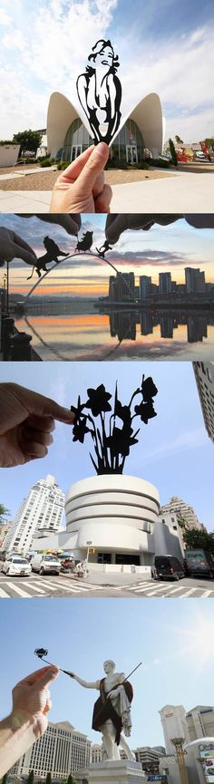 Amazing travel photos combined with paper cut-out