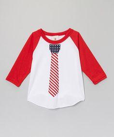 Another great find on #zulily! Red Patriotic Tie Raglan - Toddler & Boys #zulilyfinds