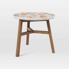 290$  Mosaic Tiled Bistro Table - Mid-Century Orange | west elm