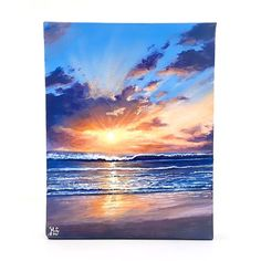 Sunset painting seascape Paintings on canvas ocean beach waves original acrylic painting on bo Beach Canvas Paintings, Seascape Paintings, Scenery Paintings, Ship Paintings, Landscape Paintings On Canvas, Acrylic Paintings, Amazing Paintings, Portrait Paintings, Landscape Art