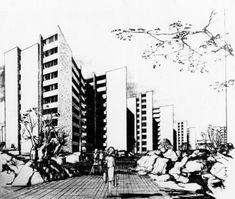 """Dibujo en perspectiva de la Unidad Habitacional Villa Olímpica Libertador  Miguel Hidalgo """"(Villa Olímpica 44cba4b25"""