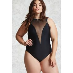 Forever21 Plus Size One-Piece Swimsuit ($30) ❤ liked on Polyvore featuring swimwear, one-piece swimsuits, black, forever 21, mesh one piece swimsuit, 1 piece swimsuit, mesh swimsuit and mesh swimwear